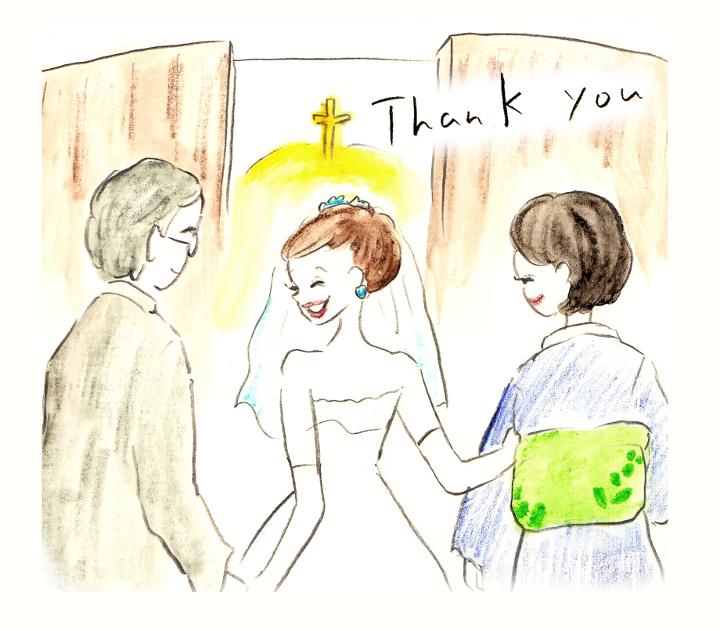 挙式が始まる前に「ありがとう」