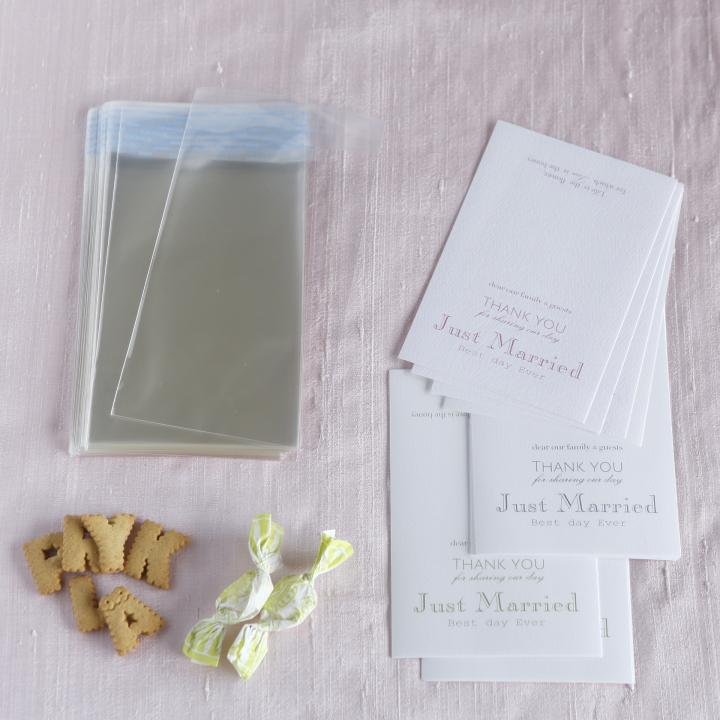 タグを印刷する紙、ギフトを入れる透明袋
