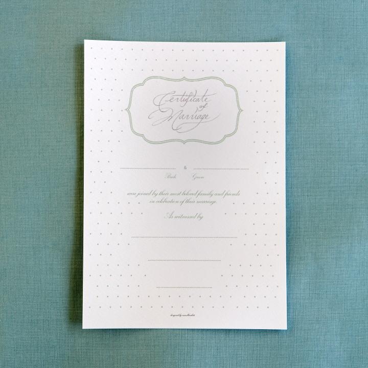 ダウンロードしてプリントした結婚証明書