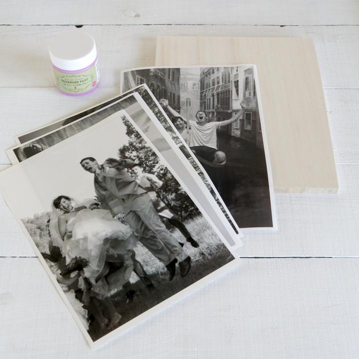 使いたい写真を原寸大でコピーした紙、木の板、アクリル絵の具