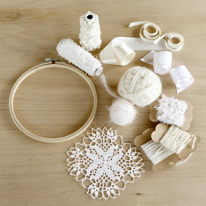 刺しゅう枠、レース編みのコースター、白糸、好みの白いひも、毛糸、リボン