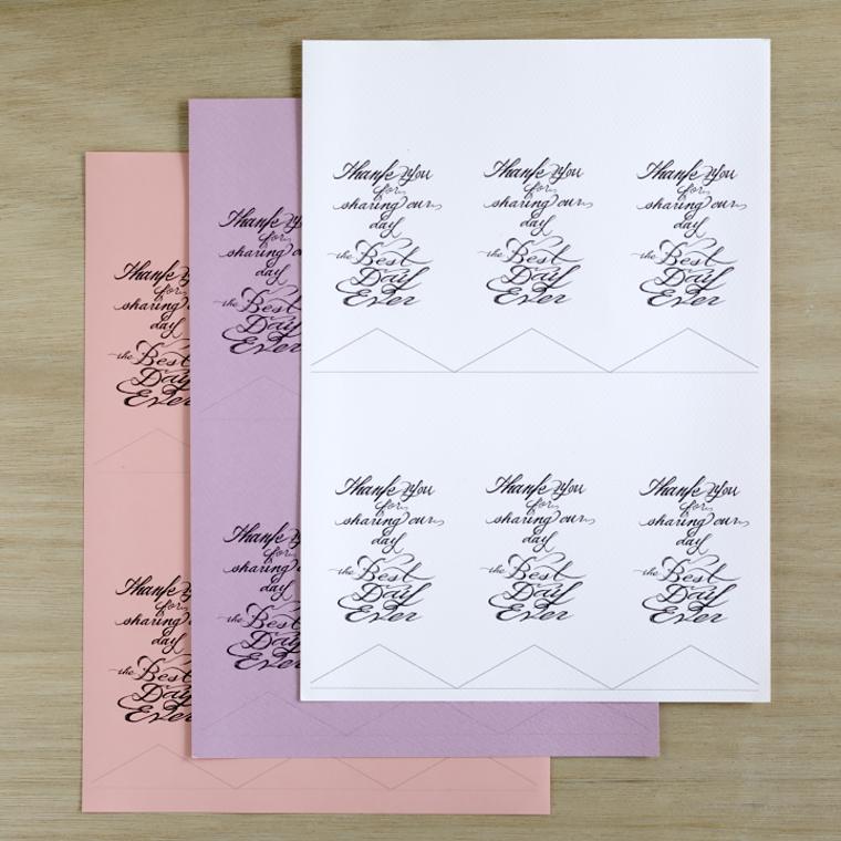 タグのデザインを印刷したA4用紙