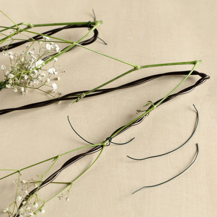 カスミソウの茎を固定している様子