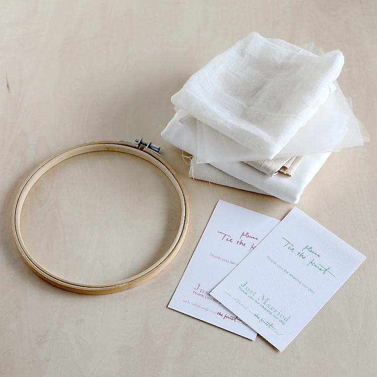 刺しゅう枠、好みの布、チュール、ハガキサイズの紙