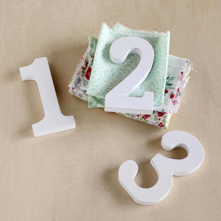 数字オブジェ、好みの柄布