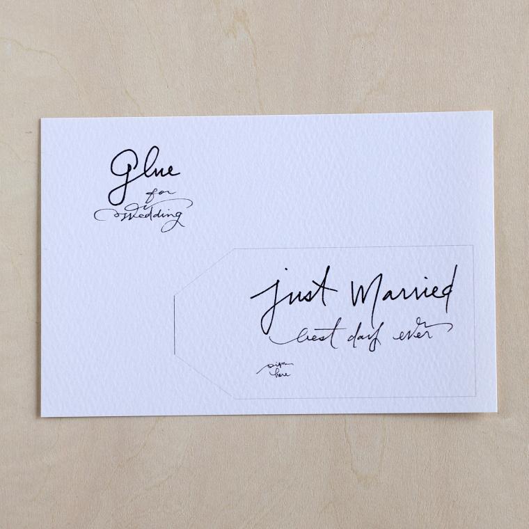 タグデザインを印刷したはがきサイズの紙