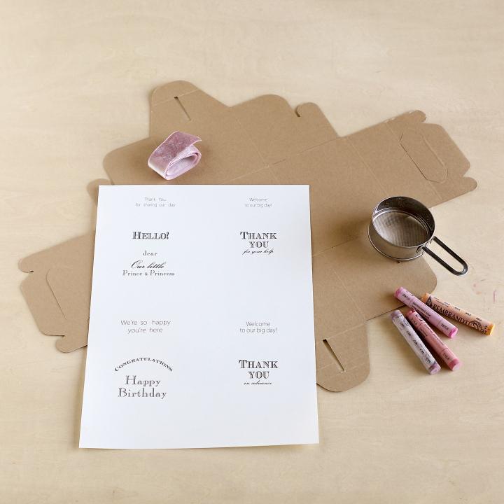 ケーキBOX、A4サイズの紙、リボン、パステル、茶こし
