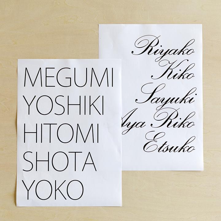 ゲストの名前を印刷したコピー用紙