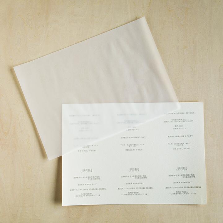メニュー表を印刷したものとトレーシングペーパー