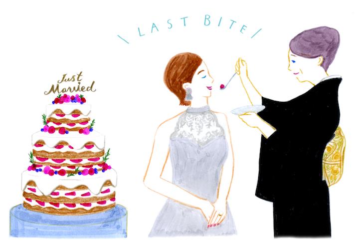 母からケーキを食べさせてもらうセレモニーのイラスト