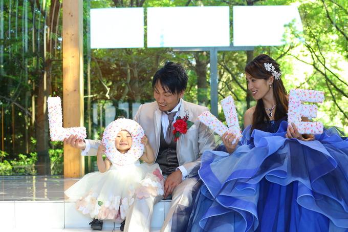 会場での家族ショット写真