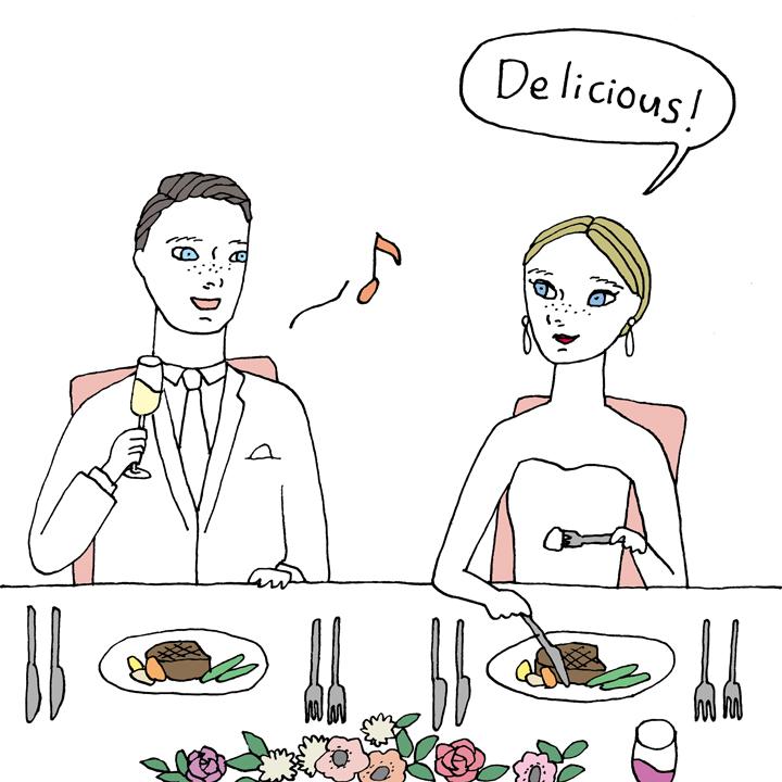 花嫁が料理を食べている様子のイラスト