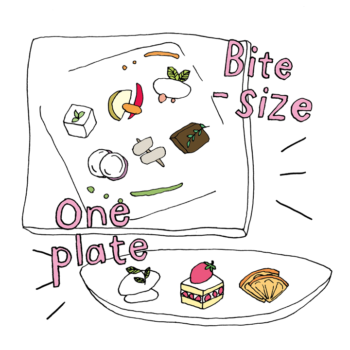 食べやすくカットした料理のイラスト