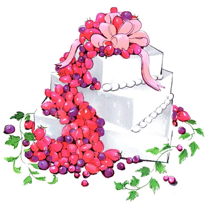 フルーツがこぼれ落ちているデザインの3段ケーキのイラストです