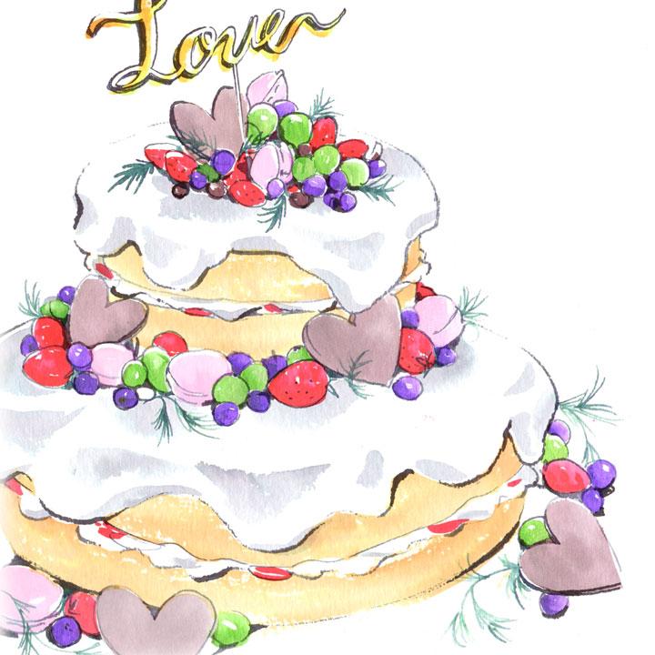 クリームが垂れたデザインのケーキのイラストです。