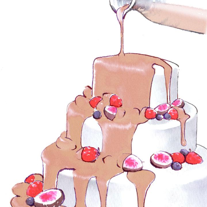 ドリップケーキのイラストです。