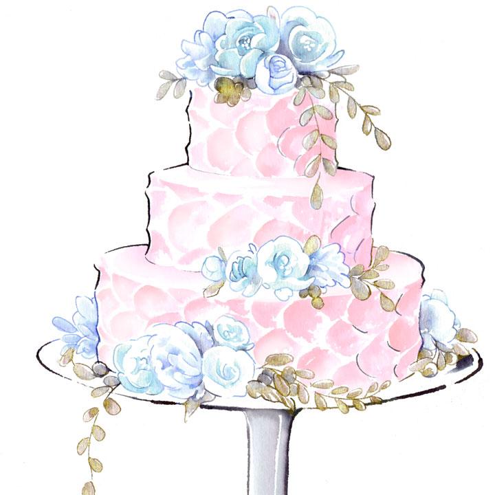 クリームのみで仕上げたシンプルなケーキのイラストです。