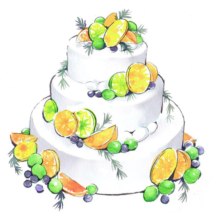 かんきつ系フルーツをあしらったケーキのイラストです。