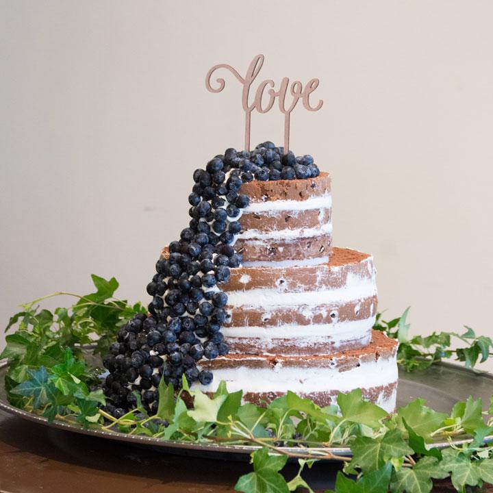 ブルーベリーがこぼれ落ちているデザインのブラウンケーキです。