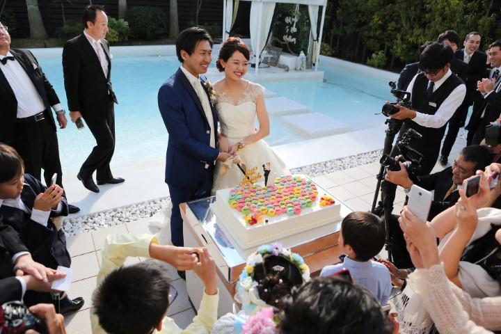 ゲストの名前入りマカロン一段ケーキ