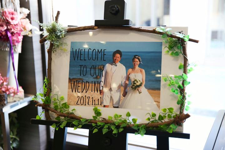 ポイント:アイテムは結婚式のテーマ「海×ナチュラル」で統一