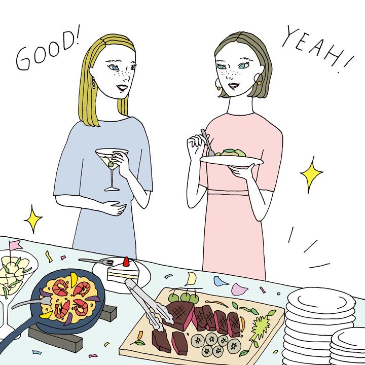 料理を楽しむ女性ゲスト