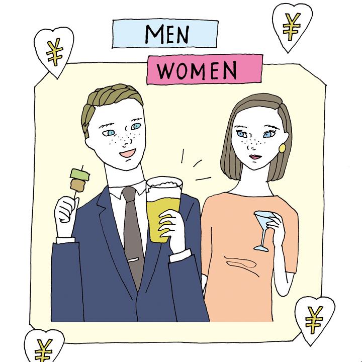 男女での会費差をイメージさせる絵