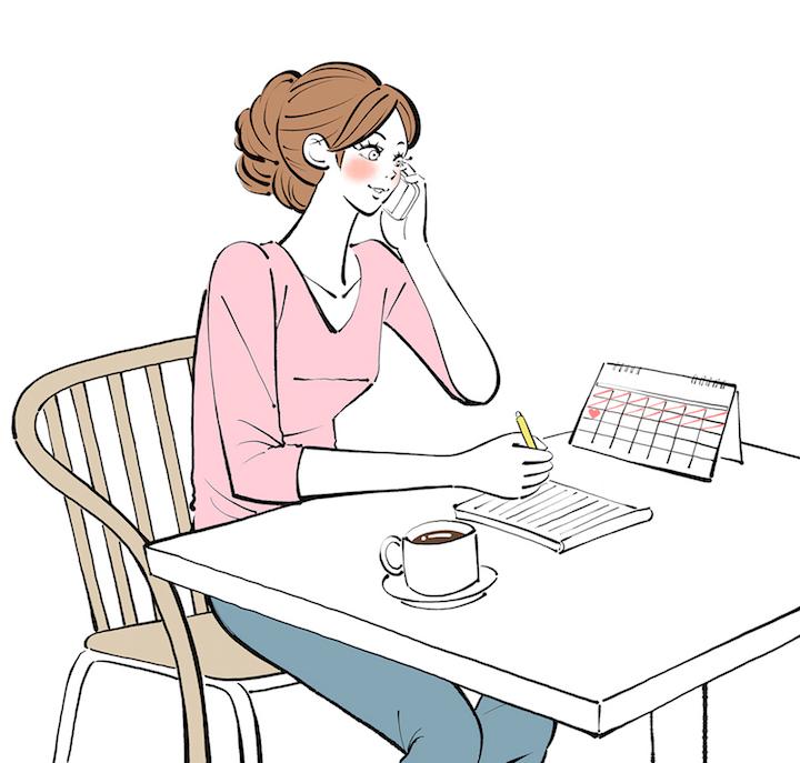 机にメモ帳を置いて、ゲストに電話をする新婦のイラスト