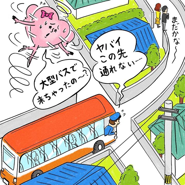 手配した大型バスが、住宅街に入れなくて、待っている人を迎えにいけないイラスト