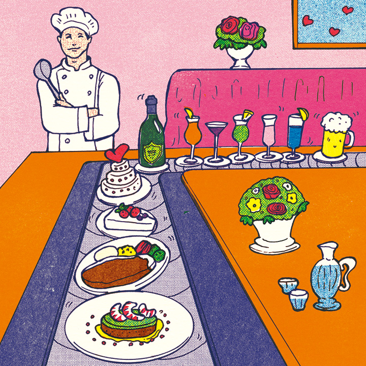 料理がたくさん並んだイラスト