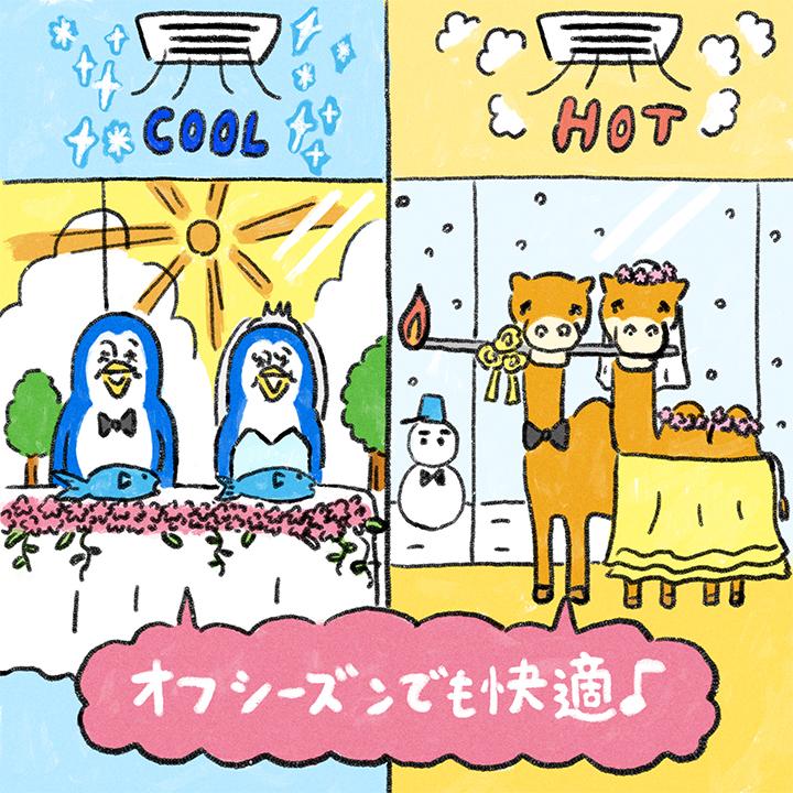夏や冬もおすすめであることを説明したイラスト
