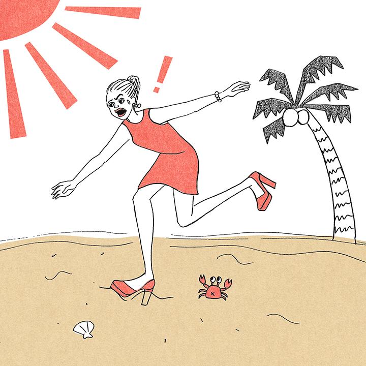 ううう……パンプスで砂まみれビーチフォト(涙)