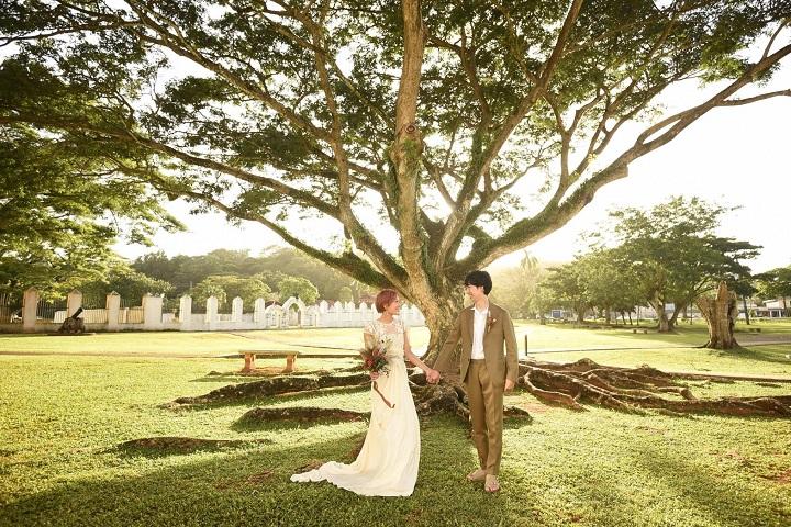 大きな木をバックに芝生に立つふたり