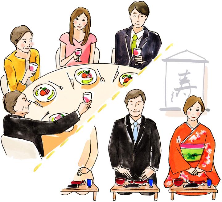 結納と婚約食事会の対比